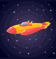 a spaceship in the form of an orange rocket and a vector image vector image