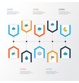 air icons colored line set with wind vane vector image