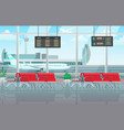 airport lounge interior waiting hall with red vector image vector image