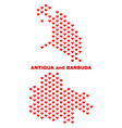 antigua and barbuda map - mosaic of lovely hearts vector image vector image