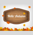 autumn background with maple leaves and wooden vector image
