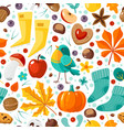 autumn seamless pattern yellow leaves pumpkins vector image