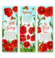 banners of spring poppy flowers and quotes vector image vector image