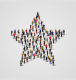 big group of people standing in a star sign vector image vector image