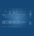 blueprint of military ship top front and side vector image vector image