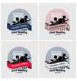 children library logo design artwork of boy and vector image vector image