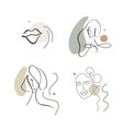 continuous line abstract drawing set faces and vector image vector image