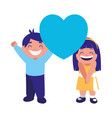 cute boy and girl holding heart vector image