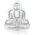 drawing giant buddha vector image vector image