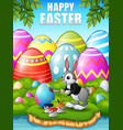 easter bunny painting easter egg in the woods near vector image