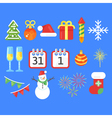 Flat style set of Christmas or New Year icons vector image