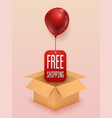 free shipping business concept box with red vector image