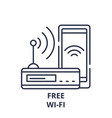 free wi-fi line icon concept free wi-fi vector image vector image