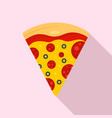 fresh slice of pizza icon flat style vector image