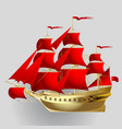 gold sailing ship with red sails on gray vector image vector image