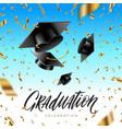 Graduation cap thrown up and golden foil confetti