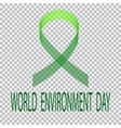 Green ribbon on a plaid background Environment vector image vector image