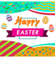 happy easter colorwhite background with colorful vector image