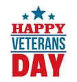 happy veterans day logo flat style vector image