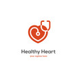 heart logo with stethoscope vector image