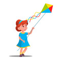 little kid girl running with colored kite in her vector image