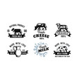 milk emblem black set for farm products vector image vector image