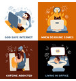 office work concept icons set vector image
