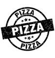 pizza round grunge black stamp vector image vector image