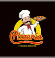pizzeria with italian recipes promotional logotype vector image vector image
