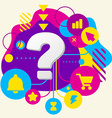 Question mark on abstract colorful spotted vector image
