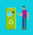 recycling people put bottles in vending machine vector image vector image