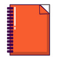 red notebook icon cartoon style vector image