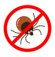 red round anti tick warning sign with detailed vector image vector image