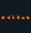 set of scary halloween pumpkins jackolanterns vector image vector image