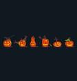 set scary halloween pumpkins jackolanterns vector image