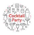 set sketch cocktails and alcohol drinks vector image