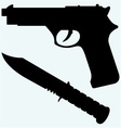 Silhouette of a knife and gun icon vector image vector image