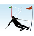 silhouette of an athlete skier vector image vector image
