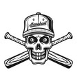 Skull of baseball player in cap and two bats