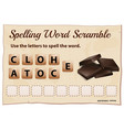 spelling word scramble game with word chocolate vector image vector image