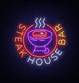 steak house logo neon sign symbol bright vector image vector image
