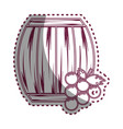 Sticker line barrel of wine with grape icon