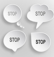 Stop White flat buttons on gray background vector image vector image