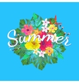 Summer text on abstract hand painted tropical vector image vector image