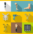 traumatology and orthopedic icon set flat style vector image vector image