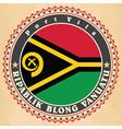 Vintage label cards of Vanuatu flag vector image vector image