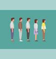 waiting women and men standing in line vector image