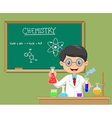 Cartoon scientist boy in lab coat with chemical vector image