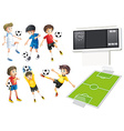 Football players and field vector image