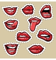 Set of red female lips and tongue vector image